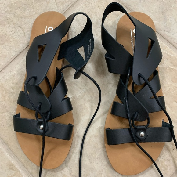 Black Flat Gladiator Sandals 39